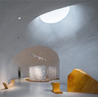 Dune Art Museum's concrete shell was shaped by hand by local workers in Qinhuangdao