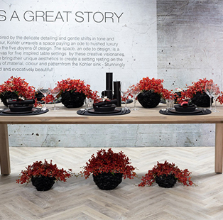 These table settings inspired by Kohler sinks are flooded with creativity