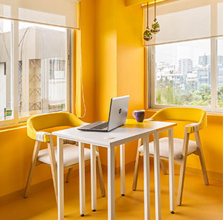 Revel in vibrant summer tones with this quirky office by Hipcouch