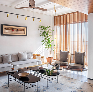 "Bhavya Parekh and Nirav Nirmal of Pan Design Studio mould this bijou home to exude a ""mid-century Bombay"" charm"