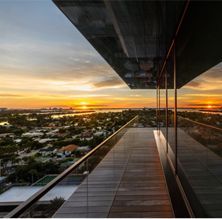 A peek into the luxurious three-floor penthouse facing the tranquil and serene Miami beach