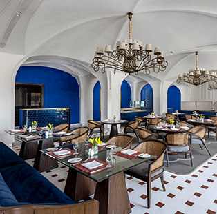 Savour a meal with a view as you dine at The Oberoi Amarvilas' Bellevue restaurant designed by Akshat Bhatt of Architecture Discipline