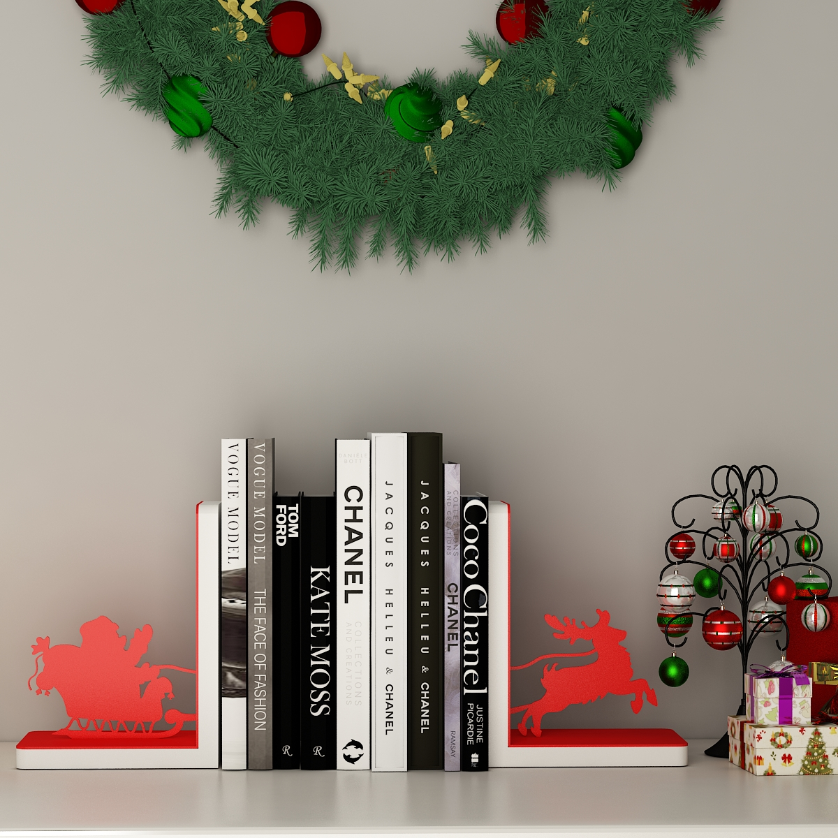 Sleighing Santa Bookends by Mohh