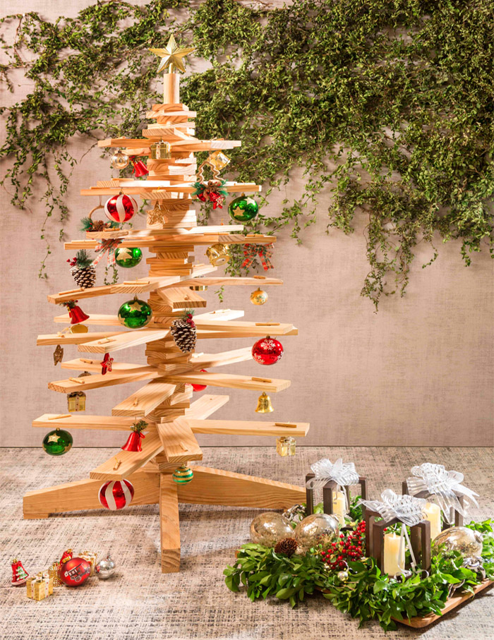 Handcrafted pinewood Christmas tree from Ochre at Home (OAH)